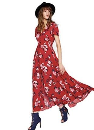 Красное миди платье в цветочный принт