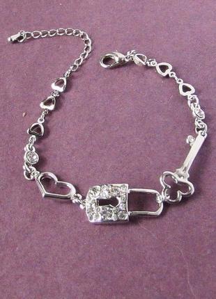 🏵 элегантный браслет в стразах с замком и ключом, новый! арт. 1401-1