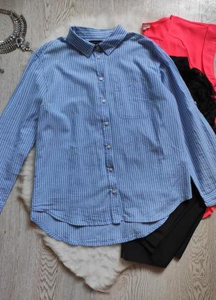 Голубая натуральная рубашка в балую полоску длинный рукав с карманом батал большой