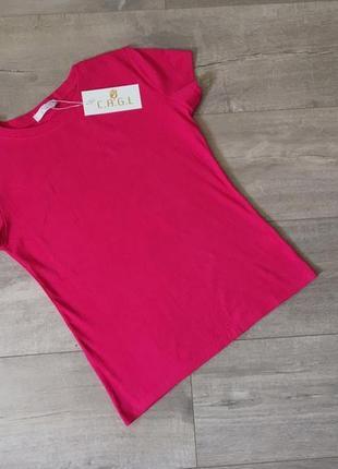 Новая качественная однотонная котоновая малиновая футболка