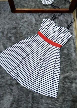 Платье с отрезной талией в полоску