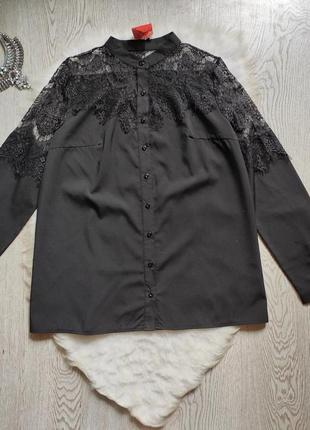 Черная рубашка с гипюром сверху секси ажурные вставки вышивка длинный рукав блуза