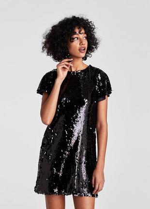Очаровательное черное платье пайетки zara