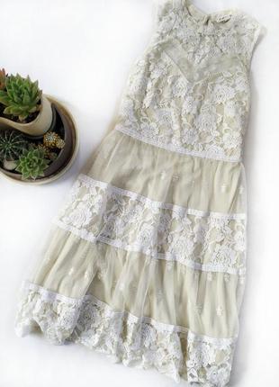 Нежное гипюровое кружевное платье цвет масляный айвори кремовый