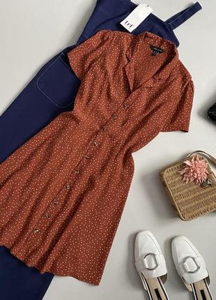 Трендовое платье рубашка в мелкий горошек new look