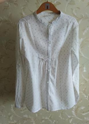 Стильная блузка рубашка zara, хлопок, 8-11 лет