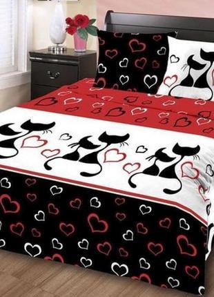 Постельное белье ранфорс r618red влюбленные коты