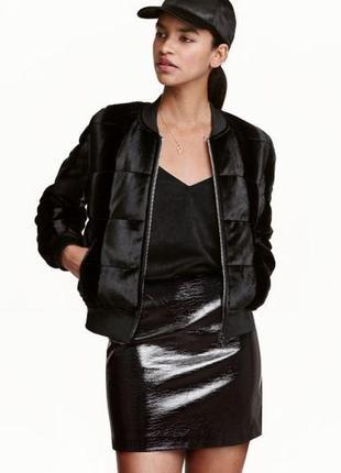 Короткая лакированная юбка h&m, р. 34 евро - 40 наш