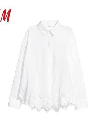 Оверсайз коттоновая рубашка с прошвой h&m