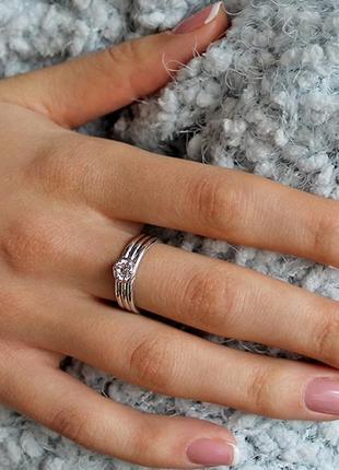 """Серебряное классическое кольцо """"гофре"""" с кубическим цирконием авторская работа"""