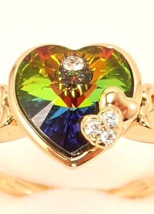 """Кольцо позолота 18к с  кристаллами swarovski """"капризное сердце """" размер17, 5"""