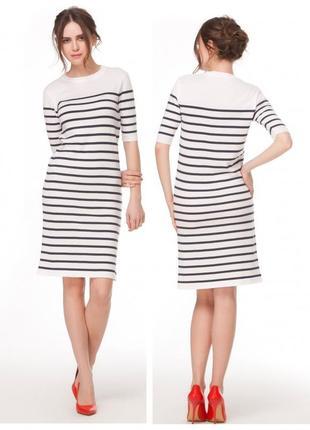 Платье вязаное трикотажное в полоску полосатое миди хлопок летнее