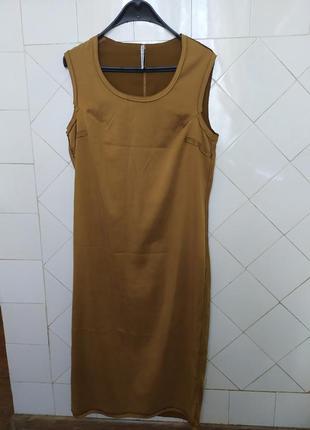 Италия.liviana conti.стильное горчичное платье швами наружу.