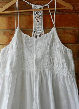 Длинный натуральный сарафан платье пляж вышивка