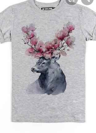 Новая хлопковая футболка принт лесной олень  бренда германии uk 12-14 eur 40-42