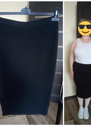 Правильная юбка карандаш миди универсального стиля большой размер 50 52 54