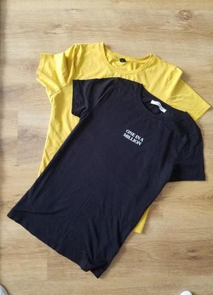 Базовая чёрная футболка слоган принт one in a million