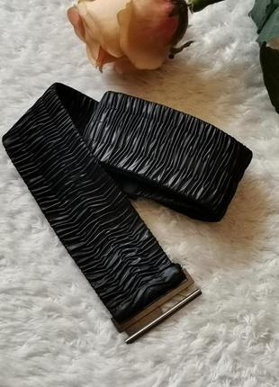 Пояс корсет ремень резинка болониевый чёрный size plus