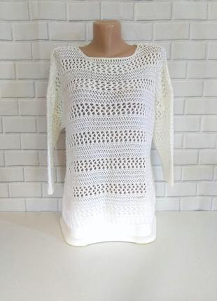 Красивый белый свитер  с рукавом 3/4 /арт.03