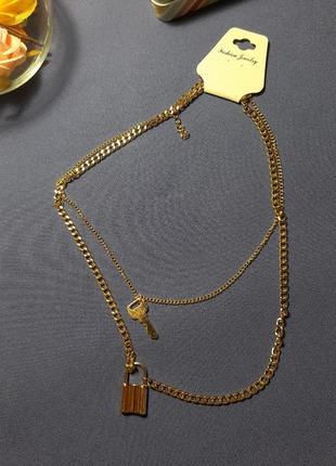 Колье, цепь, цепочка с замочком и ключом, цвет золото1 фото