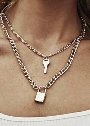 Колье, цепь, цепочка с замочком и ключом, цвет золото2 фото