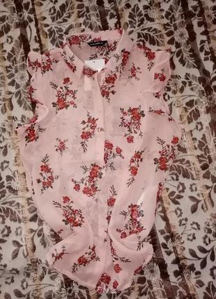 Блузка/блуза с коротким рукавом в принт