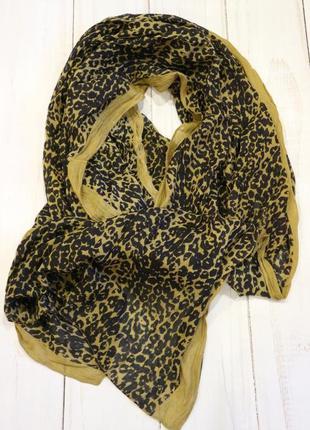 Хлопковый палантин шарф парео в леопардовый принт
