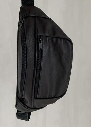 Большая бананка из натуральной кожи, сумка на пояс вместитетльная темный коричневый б12