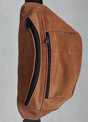 Большая стильная бананка из натуральной кожи, сумка на пояс вместитетльная рыжий замш б6