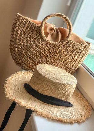 Комплект плетённая сумка и шляпа с бахромой