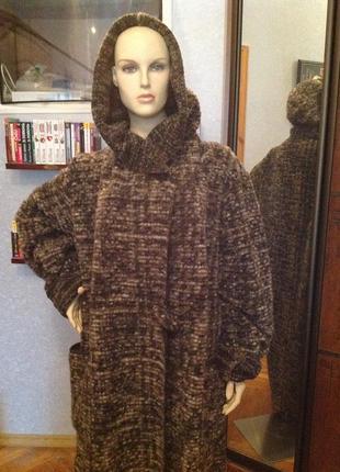 Длинный кардиган (пальто без подкладки) с капюшоном бренда divas planet, р. 58-64.