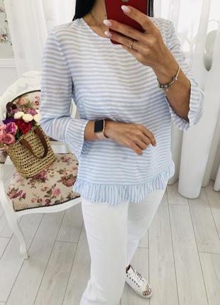 Летняя легкая блузка в полоску с оборками