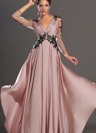 Розовое вечернее платье с кружевом на рукавах/платье в пол