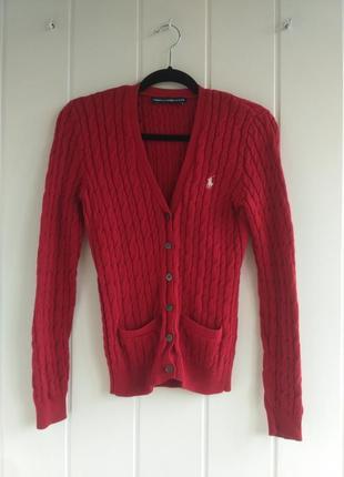Красный свитер кардиган в косичку ralph lauren sport