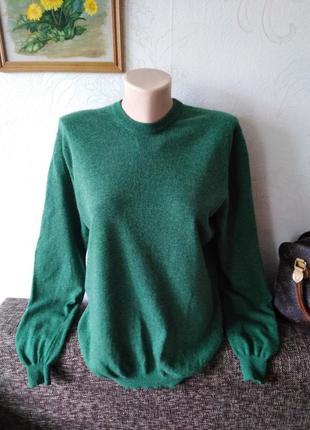 Зелёный! шерсть мериноса, базовый уютный свитерок, для прохладного вечера