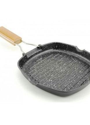 Сковорода для гриля 24 см с откидной ручкой гранитное покрытие
