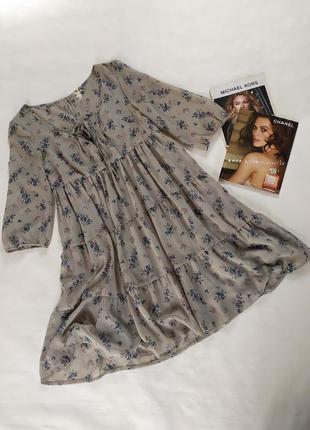 Очаровательное шифоновое платье в цветочный принт ,ярусное ,свободного кроя !