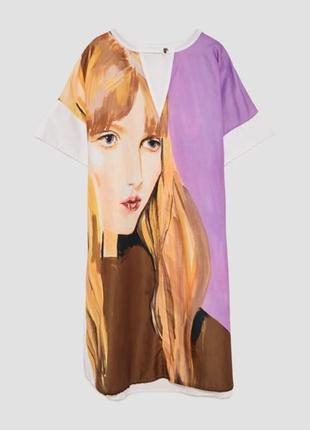 Платье с принтом zara / s / m