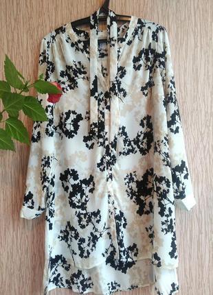 Платье сукня рубашка длинная туника блуза цветы
