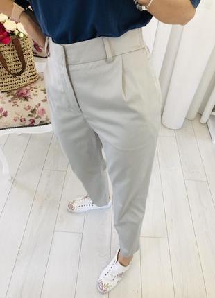 Премиум летние чиносы  штаны мом широкие брюки с защипами
