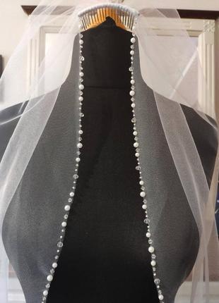 Свадебная фата с жемчужно - кристальной камой.