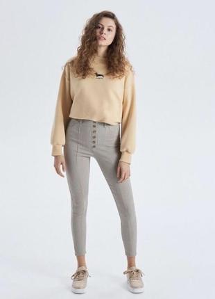 Лосины, штаны, брюки в клетку с пуговицами cropp