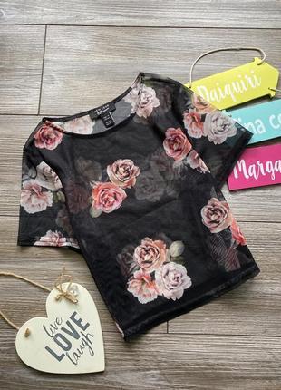 Футболка в розы блуза new look 8-9л