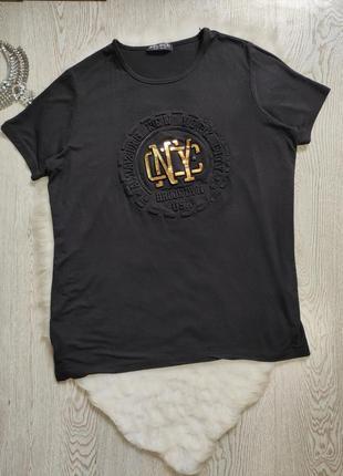 Черная длинная натуральная футболка туника с золотым принтом надписями батал большой