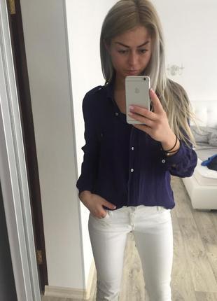 Синяя легкая блуза