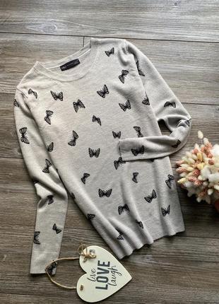 Кофта свитер в бабочки m&s xs-s