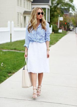 Белая летняя натуральная длинная юбка миди цветочной вышивкой подкладкой прошва на резинке