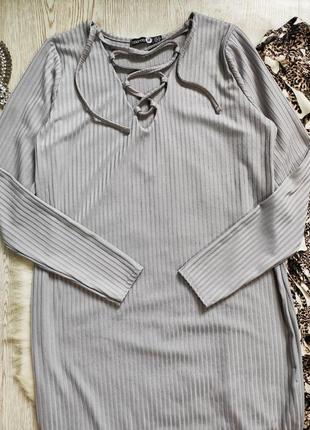 Серое голубое длинное платье миди макси с люверсами шнуровкой на вырезе декольте батал3 фото