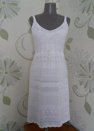 Платье вязаное трикотажное ажурное летнее