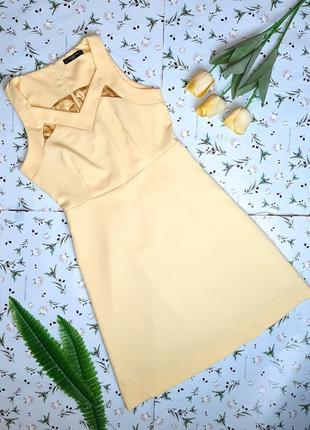 🎁1+1=3 стильное желтое нарядное платье миди collection london, размер 46 - 48